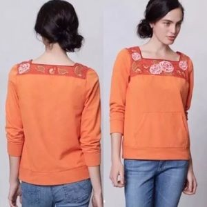 Anthropologie Lilka Rosey Embroidered Sweatshirt